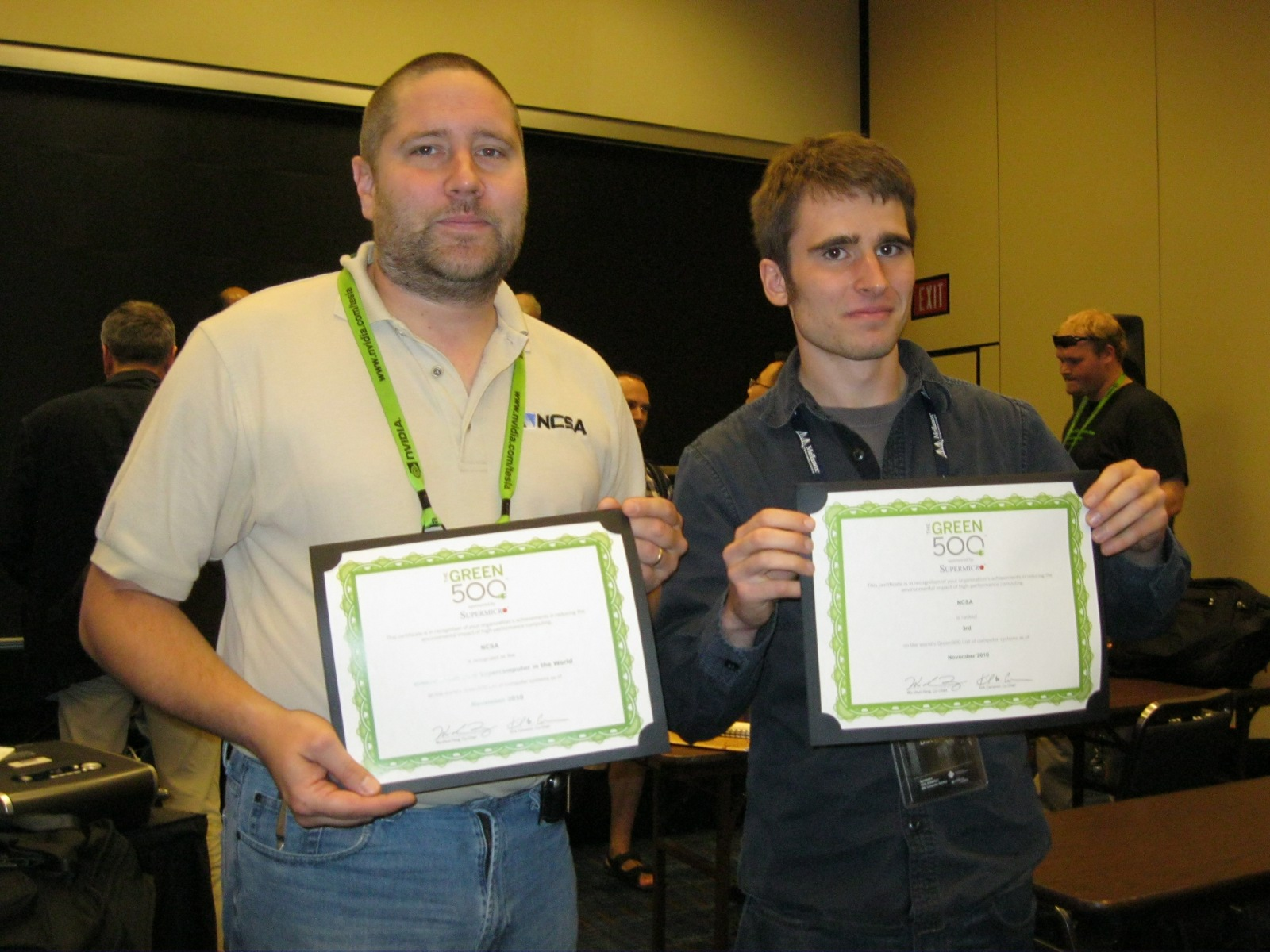 Forrest Iandola and Mike Showerman Receiving Green500 Awards